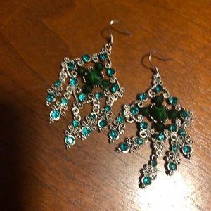 Chandelier emerald color earrings new